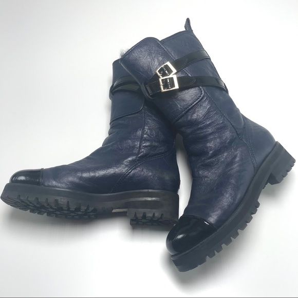 Womens Navy Blue Leather Boots